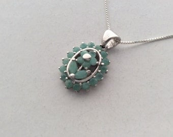 Extra 20% Off Natural Gemstone - Genuine Columbia Emerald Sterling Silver Pendant Necklace