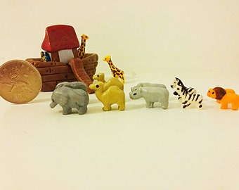 Miniature 12 scale dolls house toys or micro collectors noahs  ark with animals for scene's. Models ooak made from polymer clay .