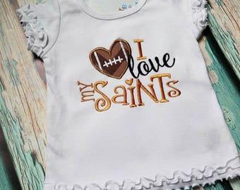 Saints little girls ruffel shirt