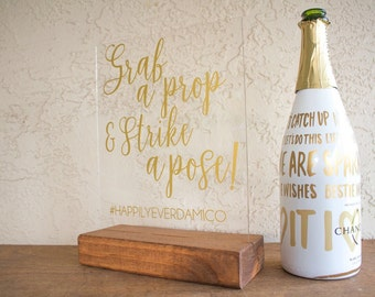 Photobooth Wedding Sign - Grab a Prop and Strike a Pose - Photobooth Sign - Wedding Photobooth Sign - Strike a Pose Sign