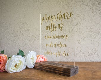 Advice Guest Book Wedding Sign - Date Night Idea Wedding Sign - Alternative Guest Book Sign - Words of Wisdom Wedding Sign - Acrylic Sign