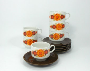 RES for Federica - Set of 6 MITTERTEICH BAVARIA Vintage Porcelain Coffee Cups Orange and Brown, Retro tea set, Mid Century, Modern from 70s