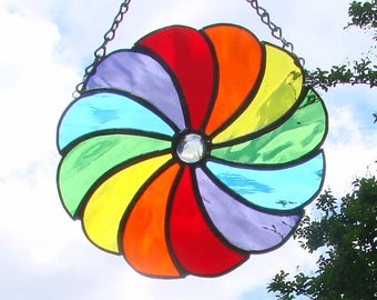 Rainbow Pinwheel  Color Wheel Stained Glass Suncatcher Water Glass