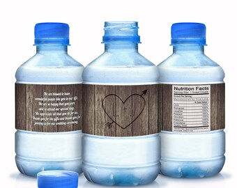Wedding Water Bottle Labels - Wedding Water Labels - Custom Water Bottle Labels - Carved Initials Wedding Water Bottle Labels