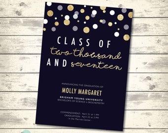 Glitter Gold Graduation Announcement, Graduation Party Invitation, Class of 2017, Glitter Gold Confetti Blue, Digital Printable