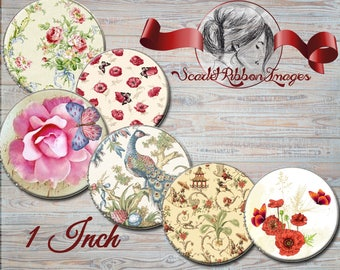 Vintage flowers, butterflies and birds 1 inch Bottle Cap images  Shabby Chic - 600dpi  printable digital collage sheet, stickers,  magnets