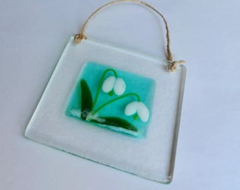 Fused glass wall hanging. Fused glass snowdrop wall hanging. Fused glass sun catcher. Fused glass art. Fused glass flower picture.