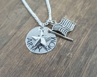 Army Mom Necklace - Hand Stamped Military Mom Jewelry - Star and Flag Necklace - Army Mom Necklace - Mother's Necklace