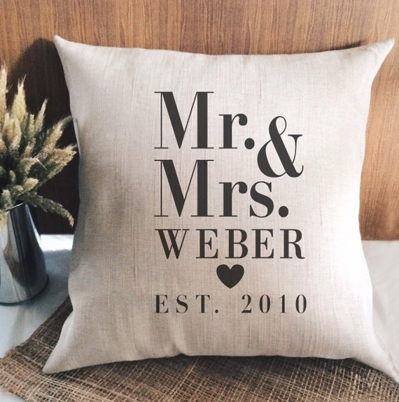 Personalised Wedding Gifts Pillow Cases : and Mrs est. Burlap pillow case / wedding gift / Personalized / Pillow ...