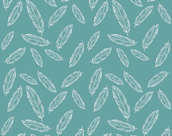 Feathers, Arrows and Triangles by Riley Blake - Feathers Teal - Cotton/Spandex Knit