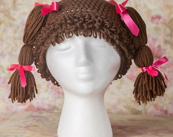 Cabbage patch hat, Hat wig photo prop, Crochet beanie, Gift for her, Gifts for girls, Beanie, Womens hats, Girls hats, Little girl hats,