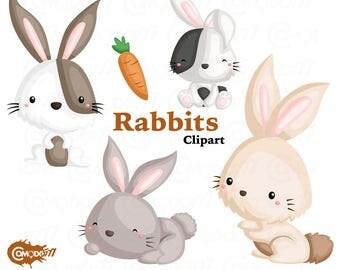 50%OFF!! Cute Rabbits Clipart - Cute Clipart, Rabbits Clipart, Fun Clipart, Clipart Set, Adorable Digital Clip Art