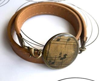 Musician Teacher Gift, Music Bracelet, Resin Jewelry, Music Lover Gift Idea, Music Art, Wrap Bracelet, Brown Bracelet, Everyday Bracelet