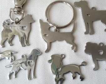 Dog breed keyring, dog lovers gift, husky, bulldog, Dachshund, labrador, jack russell, Chihuahua, poodle, Bunny keyring, Crazy cat lover