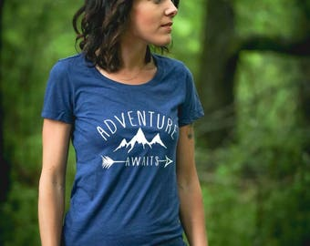 Adventure Awaits T-Shirt * Hiking Tee * Outdoors * Gifts for hikers *Gifts for her *Roadtrip* Adventure Shirt