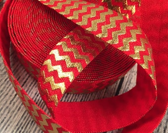 Red Elastic with Gold Chevron Foil, 5 Yards, Pattern Elastic, Headband, Lingerie, Baby, Straps, Low Shipping, Foldover