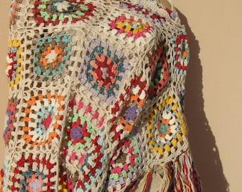 Handmade crochet large shawl, cotton yarn  spring shawl, multicolor shawl, summer shawl