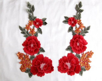 Trento Mirror Flower Patches,2 Pcs. Flower Applique/Red Flower Patches/Red Flower Applique/Floral Patches/Embroidery Patches