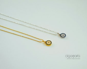 Elegant Pave Evil Eye Necklace Sterling Silver 925 Bijoux Silver Chain Gold plated Minimal Jewelry Contemporary Made in Greece Handmade