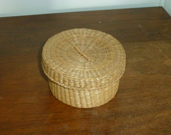 Woven Straw Basket with Button Collection