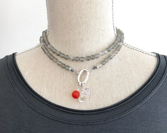 Moonstone Customizable Mala Beads Necklace, Add Charms to Mala Beaded Necklace, Meditation Beads, Boho Short Necklace, Yoga Beads