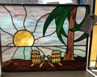 Just Beachy! Large Stained glass panel