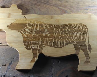 Cow Cutting Board, Cow Kitchen Decor, Farm Kitchen Decor, Meat Cuts, Country