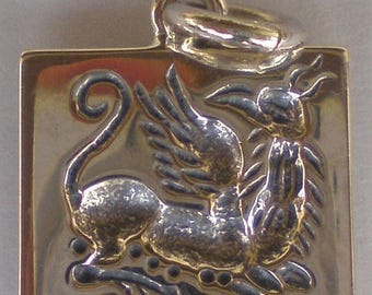 For Sale Griffin Guardian Sterling Silver Pendant