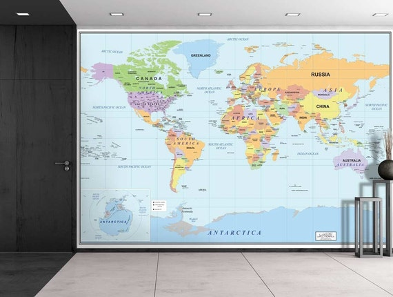 Wall26® 2016 Newest World Map Large Wall Mural Removable