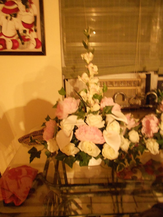 Altar arrangement and wedding table decoration 2 large pieces Pink and white