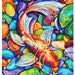 """Colorful Koi Fish - Original colorful traditional acrylic painting on paper 9x12"""""""