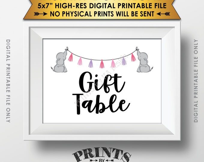 """Elephant Baby Shower Gifts Table Sign, Cards & Gifts Table Sign, Gifts Sign, Pink Baby Shower Decor, Instant Download 5x7"""" Printable Sign"""