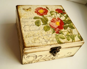 Wooden Jewelry Storage Box, Jewelry Box, Wooden Decorated Box, Hand Decorated Box, Embellished Storage Box, Mother's Day Gift, Gift for Her