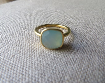 Pale Blue-Green Chalcedony Ring
