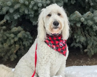 Buffalo plaid dog bandana, optional matching owner scarf personalized,  available in 4 colors.  Reversible. Tie on or Collar Insert