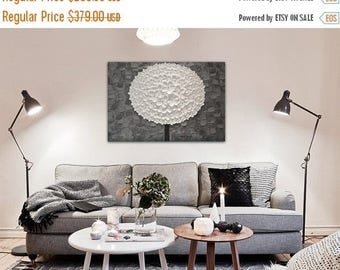 ON SALE Now Perfect Piece Grey and White Petal Oil Painting