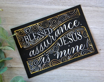 Blessed Assurance | Metallic Painting on Black Paper