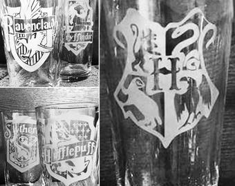 Hogwarts House Etched Glass