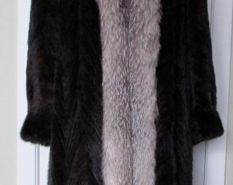 Tuxedo style black mink and silver fox coat L to Xl