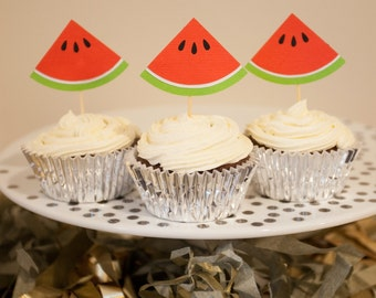 Set of 12 Watermelon Cupcake Toppers