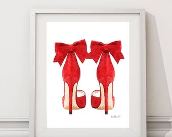 Red fashion watercolor shoes, high heels, fashion illustration, shoe art, shoe art, high heels, fashion print, fashion art, gift, bow, red