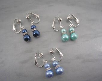 Diana ~ Coloured Pearl & Crystal Diamante Clip-on Dangle Drop Earrings, Bridal Earrings, Bridesmaids Earrings, Wedding Jewelry