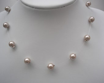 Genevieve ~ 8mm Floating Illusion Pearl Necklace, Bridal necklace, Bridesmaids Jewelry, Wedding necklace (17e)