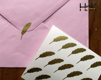 15x feather stickers / envelope decals / party decoration / glass decor s006