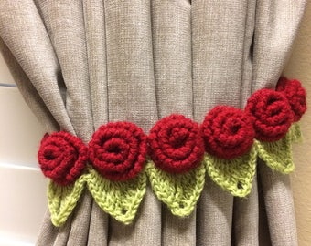Crochet Curtain Tieback - 1 pair red rose flower