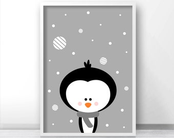 Penguin Christmas Print, Instant Download Printable Christmas Art, Holiday Print, Christmas Wall Art, Digital Download Christmas Decor