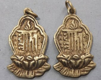 Two Buddhist Brass Kalachakra Mantra Amulets Pendants from Nepal, Ethnic Folk Jewelry, FREE SHIPPING