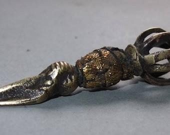 Small Buddhist Brass Dorje Ritual Dagger Phurbu Ritual Object Amulet from Nepal, Himalaya Buddhist Ceremonial Amulet Art, FREE SHIPPING