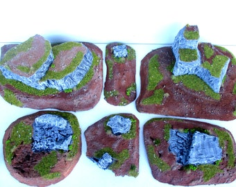 Landscape for the game: meadow type, pack 6 stages, Rock formations ground, warhammer terrain, wargame, 40k, fantasy terrain.