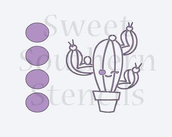 Tall Cactus PYO Cookie Stencil